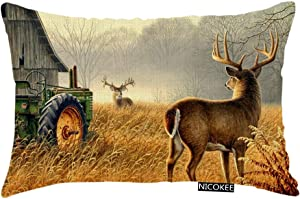 Nicokee Throw Pillow Cover Deer Hunting Tractors Animal Decorative Pillow Case Home Decor 20x12 Inches Pillowcase