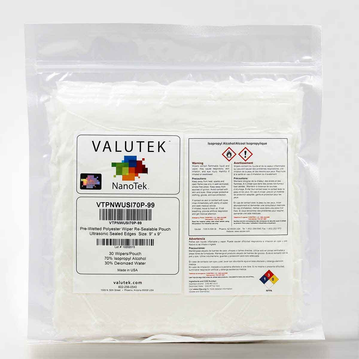 Valutek 70% Isopropyl Alcohol Wipes / 30% Deionized Water | 30 Wipers/Pouch [Ultrasonic Sealed Polyester Wiper in Clear Pouch - Size 9''x9''] by Valutek