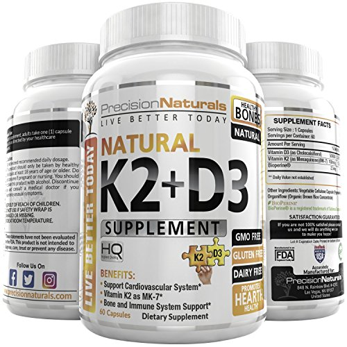 Vitamin K2 D3 MK7 Capsules 100mcg 5000iu 60 Vegetarian Capsules Supports Strong Healthy Bones Plus Heart Health Supplement Non GMO Natural Calcium Absorption - Premium Formula Easy Swallow Vitamins (Strong Healthy Bones)