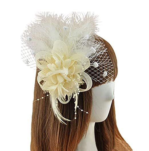 7aee4be1a5a8a Coolr Fascinator Hair Clip Feather Wedding Headwear Bridal Headpiece for  Women (Beige)