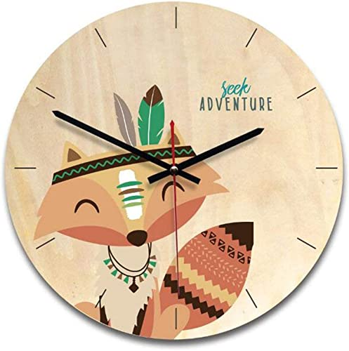 Justup Wooden Wall Clock, Silent Children s 11 Inch Wall Clock Non-ticking Quality Quartz Movement Nursery Clock Battery Operated for Kids Room Indoor Decoration Fox