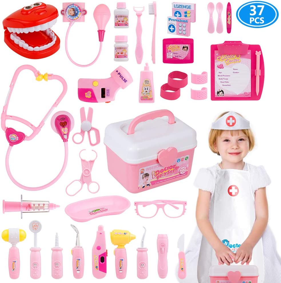 Gifts2u Toy Doctor Kit 37 Piece Kids Pretend Play Toys Dentist Medical Role Play Educational Toy Doctor Playset For Girls Ages 3 6