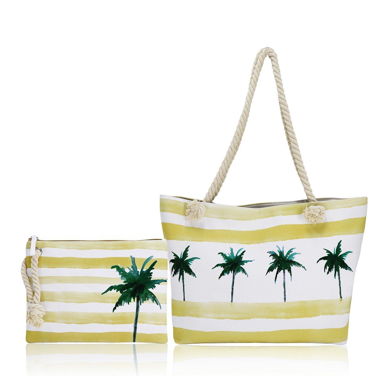Large Canvas Beach Bag, A Canvas Bag Set with Small Waterproof Lining Tote Bag - Top Zipper Closure (Palm Tree Tote)