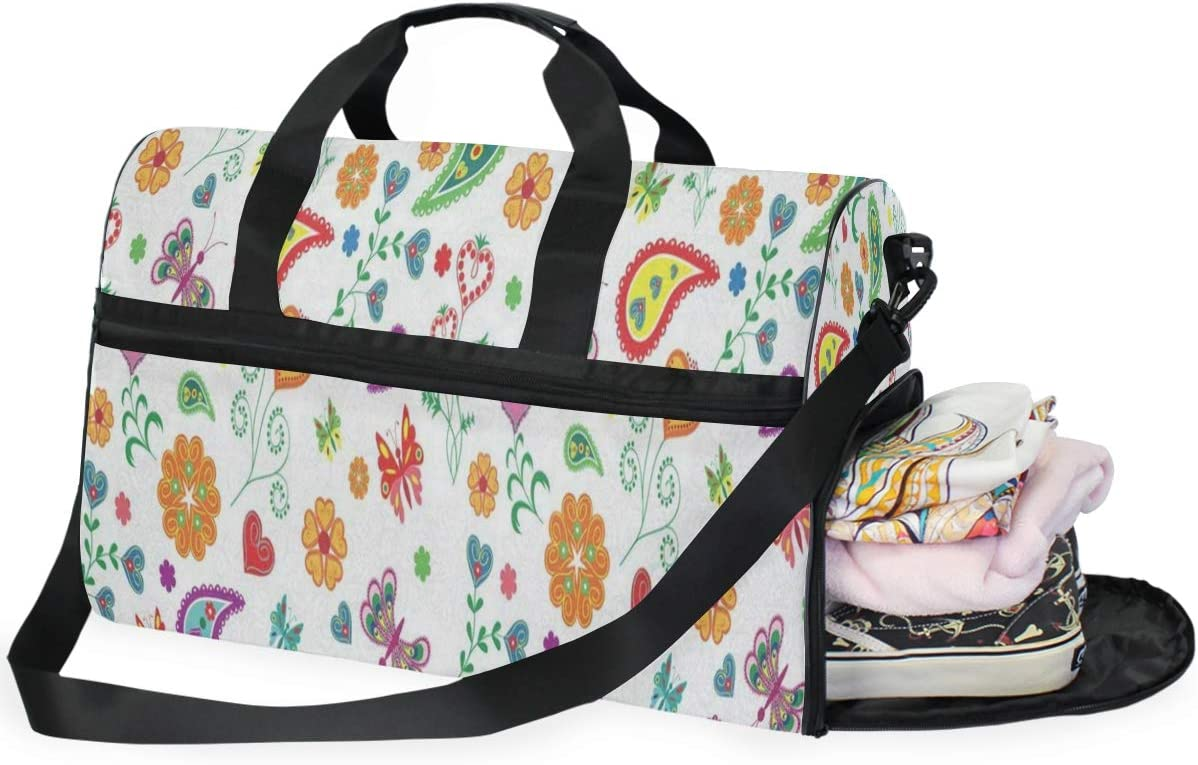 Indian Paisley Butterfly Gym Bag with Shoes Compartment Sports Swim Travel Overnight Duffels