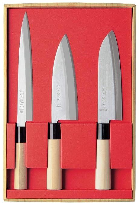 Compra Juego de 3 Cuchillos Japoneses SekiRyu: Sashimi, Deba ...