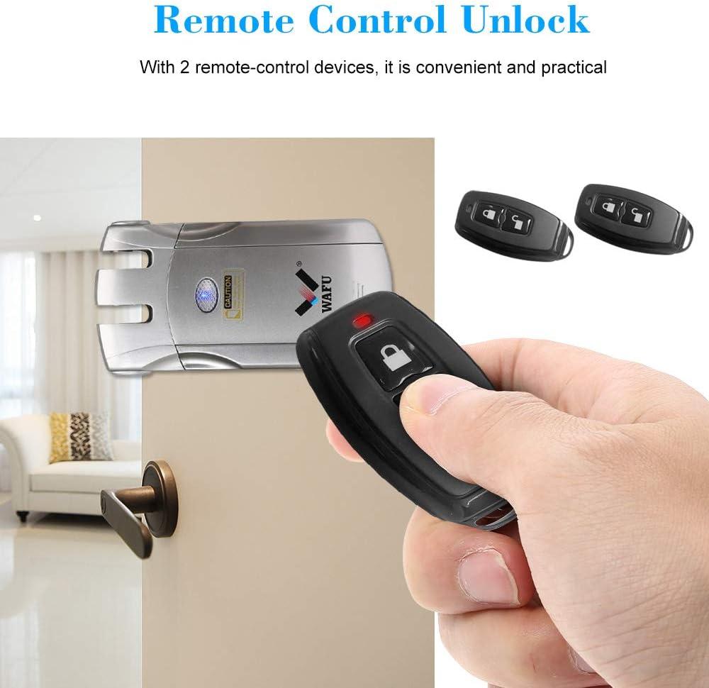 Plata WAFU WF-018 Cerradura Inal/ámbrica Inteligente Cerradura Control Remoto Cerradura Invisible con 2 Teclas Remotas