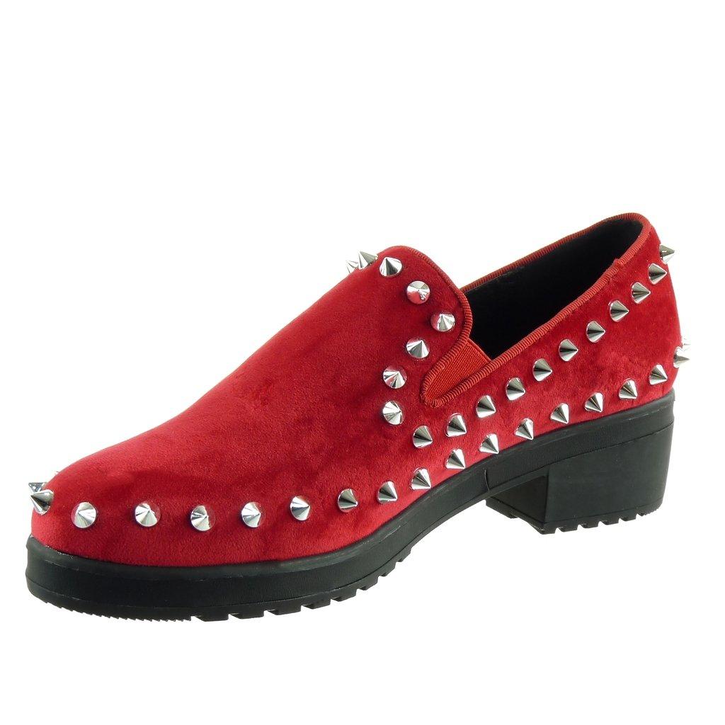 Angkorly - damen Schuhe Sneaker - Slip-On - Plateauschuhe - Nieten - besetzt - elastisch Keilabsatz high heel 4.5 CM - Rot FL918 T 39 tXbruIq