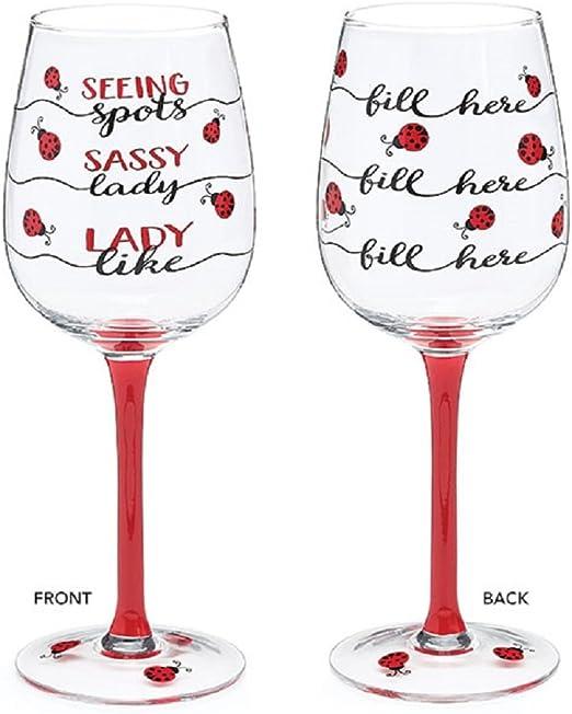 Burton /& Burton Wine Glass Ladybug Fill Line