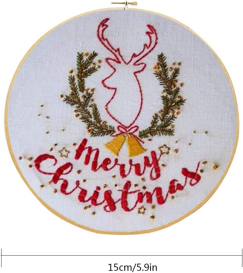 Embroidery Starter Kit,Full Range of Christmas Embroidery Kit with Pattern Cross Stitch Tool Kit for Beginners,Multi-Pattern Christmas Wreath