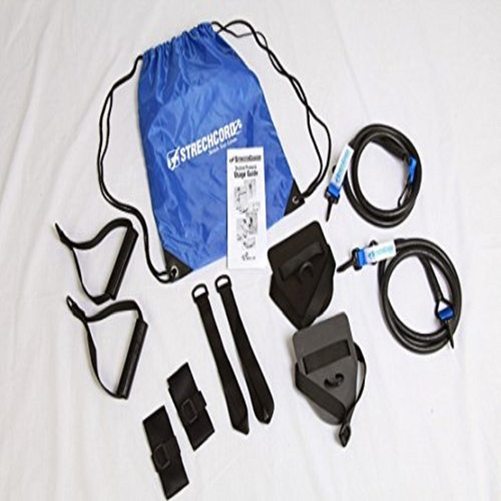 Strechcordz Modular Set ~ Blue 14-34lbs ~ Swimmer's Wet & Dry Land Kit for swimmer's pull, tricep extensions, rowing, overhead raises, proper hip rotation, stroke efficiency by StrechCordz (Image #1)