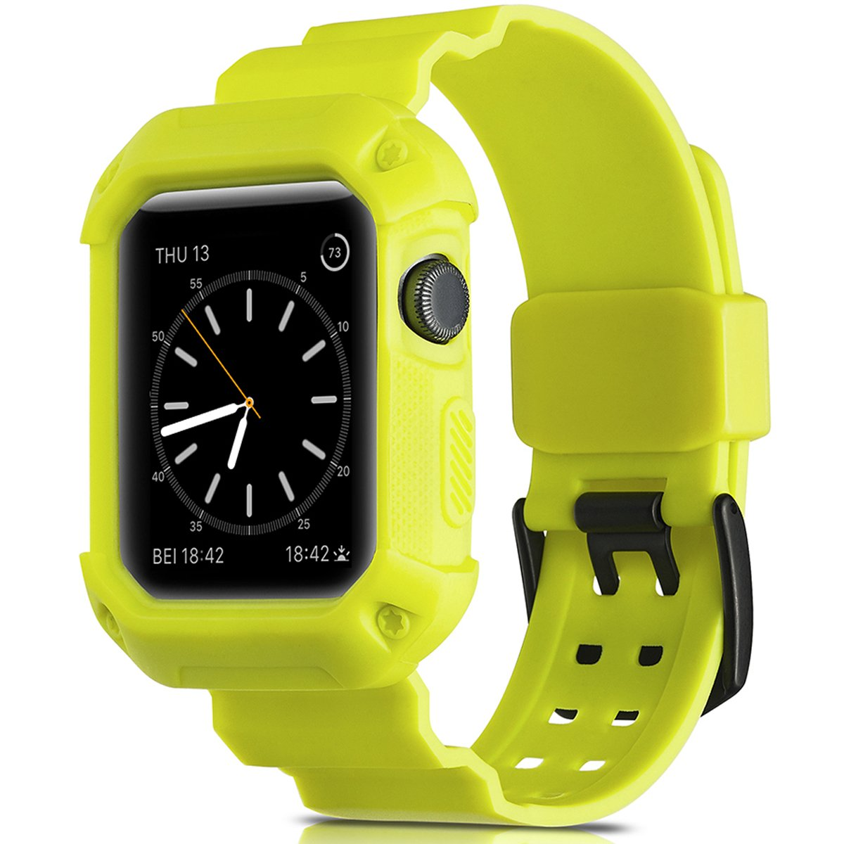 Camyse Compatible Apple Watch Band 38mm Case, Shockproof Rugged Protective Cover with Bands Stainless Steel Clasp for iWatch Apple Watch Series 3, 2, 1 Sport Edition for Men Women Grils Boys - Yellow by Camyse