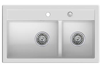 Spüle 80 Cm.Granitspüle Weiß 2 Becken Drehexcenter Siphon Spülbecken Küchenspüle Schrankbreite Ab 80 Cm