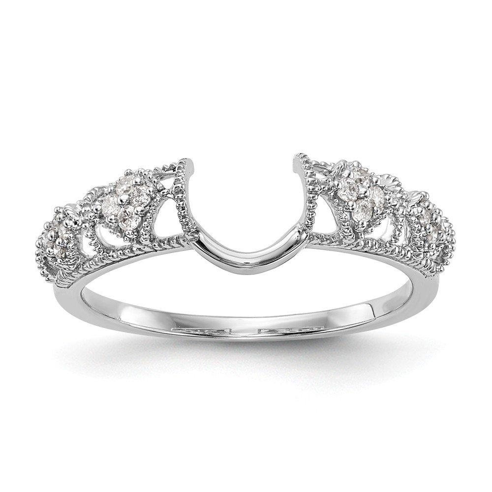 14K White Gold Diamond Enhancer Ring Guard Wrap 0.104 cttw