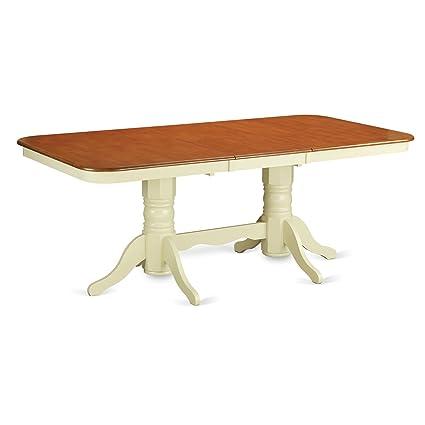 Amazon Com East West Furniture Nat Whi Tp Rectangular Round Corner