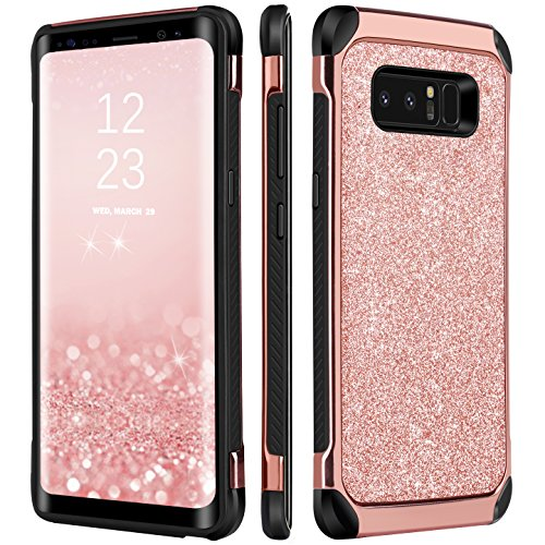 BENTOBEN Note 8 Case, Galaxy Note 8 Case, 2 in 1 Glitter Sparkle Bling Hybrid Hard Cover Shiny Faux Leather Chrome Shockproof Bumper Protective Phone Case for Samsung Galaxy Note8(6.3 inch) Rose Gold
