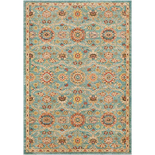 - Tiwari Home 3.9' x 5.5' Sapphire Blue and Brown Imperial Patterned Rectangular Area Throw Rug