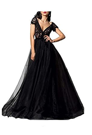 a88e5ae37221 Amazon.com  Chupeng Women s Deep V-Neck Black Sexy Lace Prom Dress Sexy  Long Formal Evening Ball Gown with Sleeves  Clothing