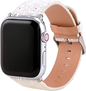 Moonooda Sparkle Bling Watch Band Compatible with Apple Watch Bands 40mm Series SE 6 5 4, Glitter Smartwatch Bands Strap 38mm Wristband Applicable for iWatch Series 3 Series 2 and Series 1,White