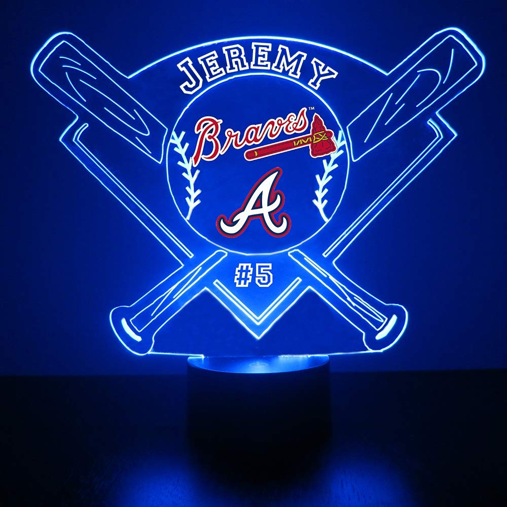Mirror Magic Store Baseball LED Night Light - Personalize Free LED Night Lamp Gift - Features Licensed Decal and Remote (Braves)