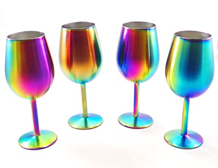 fdadc49bc30 Image Unavailable. Image not available for. Color: Shatterproof Stainless  Steel Wine Glasses (Set ...