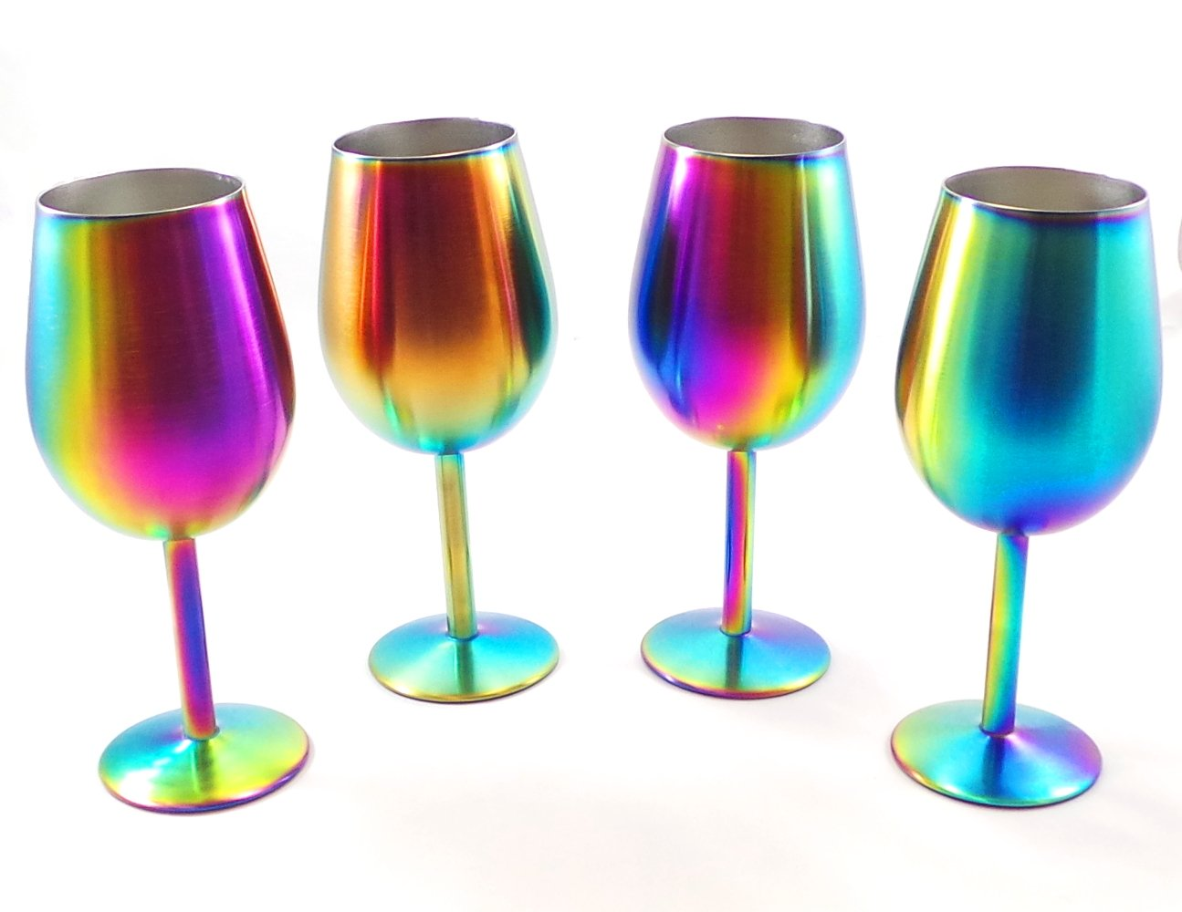 Shatterproof Stainless Steel Wine Glasses (Set of 4), Titanium Rainbow Colored Finish, Lids Included, Long Stemmed by Great Spirit Wares (Image #1)