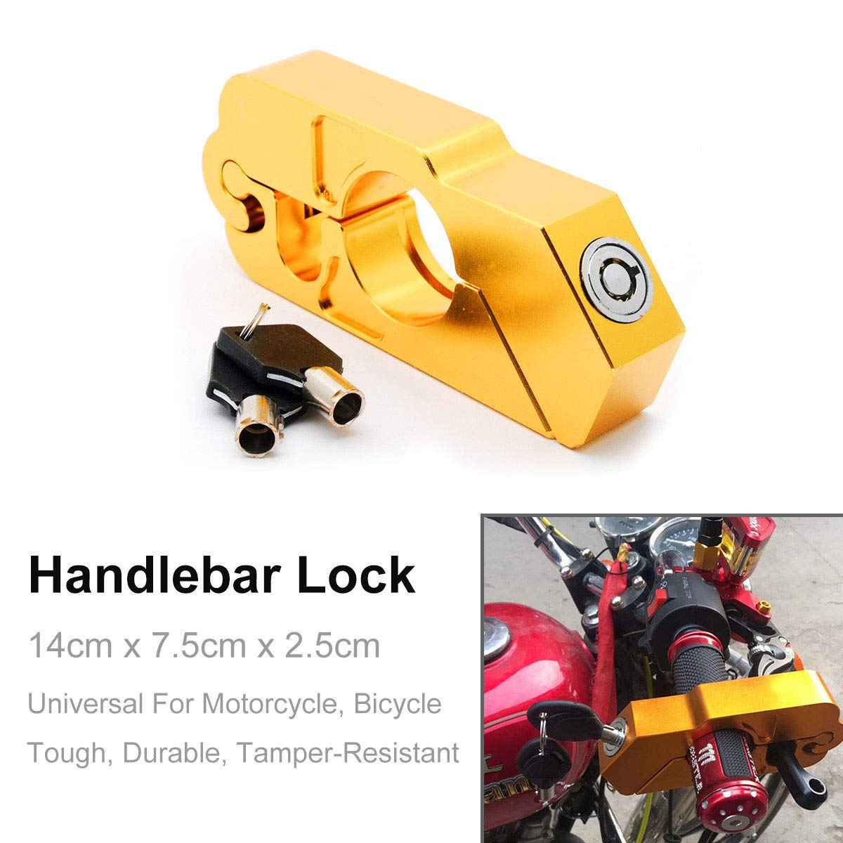 MASO Motorbike Motorcycle Handlebar Throttle Grip Lock Aluminum Alloy Anti-theft Brake Level Lock for Bike Scooter Moped ATV Motorcycle Handlebar Lock Gold
