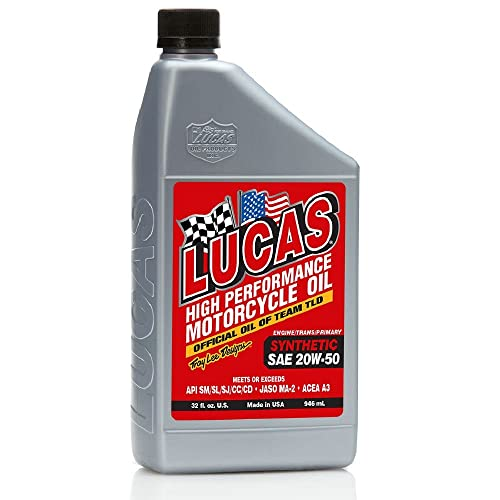 Lucas Oil 10702-PK6 High-Performance Synthetic 20W-50 Motorcycle Oil