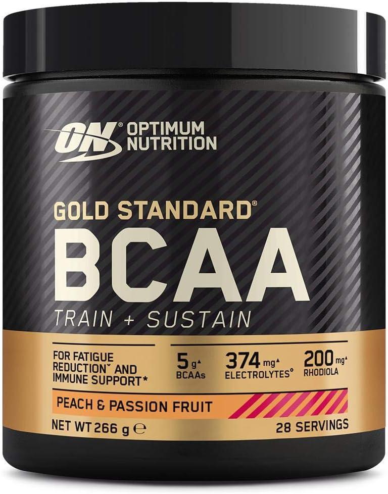 Optimum Nutrition Gold Standard BCAA Polvo, Suplementos Deportivos con Aminoacidos, Vitamina C, Zinc, Magnesio y Electrolitos, Melocotón y Fruta de la ...