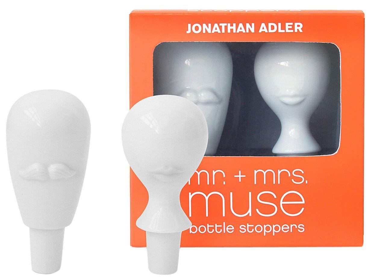 Jonathan Adler Mr & Mrs Muse Bottle Stopper Set, White by Jonathan Adler