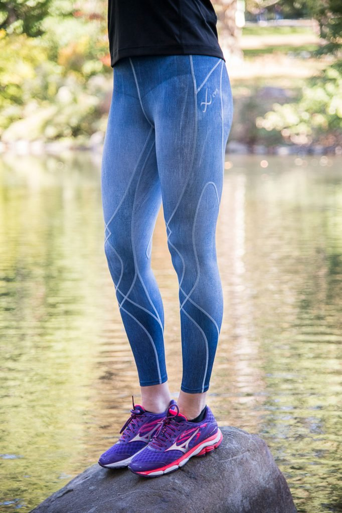 CW-X Women's Stabilyx Joint Support Compression Tight, Denim Blue, X-Small by CW-X (Image #3)