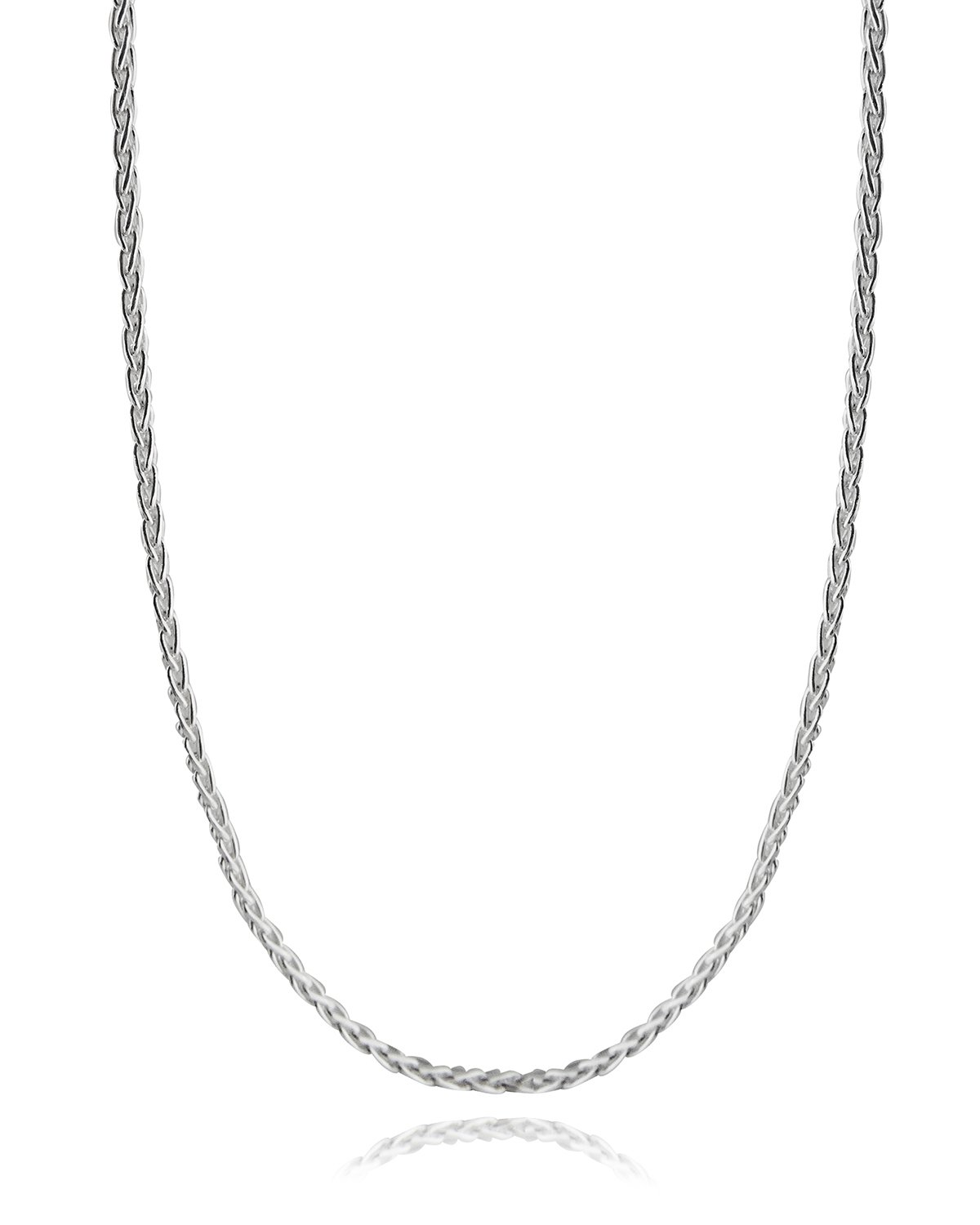 Italian 925 Sterling Silver 3mm Spiga Wheat Diamond Cut Chain Necklace - 16, 18, 24, 30 Inches (18) by FashionJunkie4Life (Image #5)