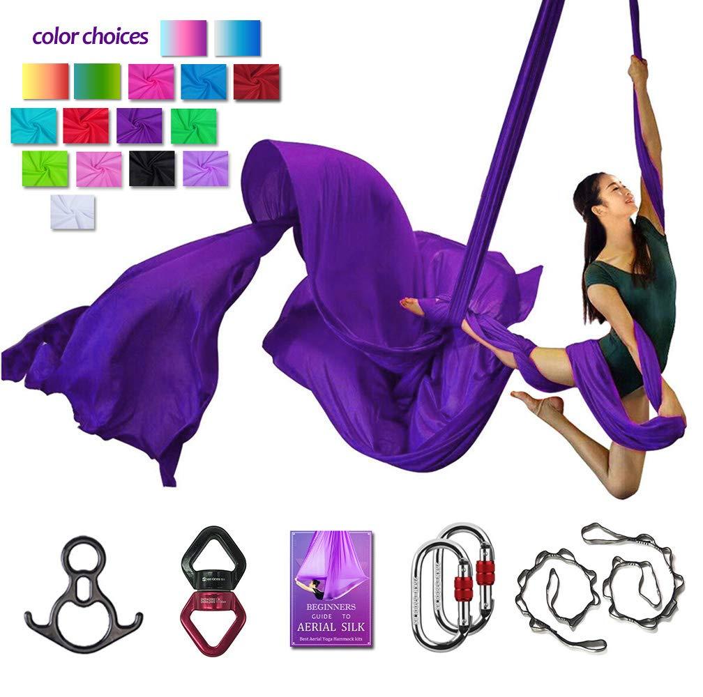 Aerial Silks Deluxe Equipment Set for Aerial Yoga, Aerial Yoga Hammock, Aerial Acrobatic,Circus Arts, Aerial Dance(L:10m W:2.8m (Deep Purple)