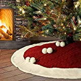 LimBridge Christmas Tree Skirt, 48 inches Luxury Knitted Skirt with Plush Faux Fur Edge, Rustic Thick Heavy Yarn Knit Xmas Holiday Decoration, Burgundy and White