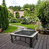 Island Gale Outdoor Backyard Square 30'' Natural Slate Fire Pit Table with Spark Screen and Poker, Decorative Ceramic Tile (Square)
