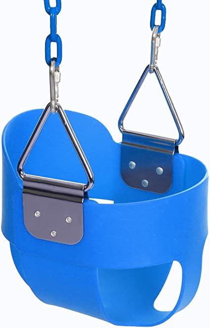 Toddler Swing Seat High Back Full Bucket Swing Seat with 60-inch Coated Chain
