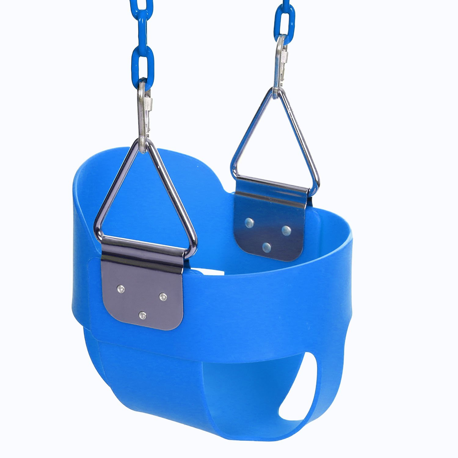 Funmily High Back Full Bucket Toddler Swing Seat with 60 inch Plastic Coated Swing Chains & 2 Snap Hooks Fully Assembled - Swing Set (Blue) by Funmily