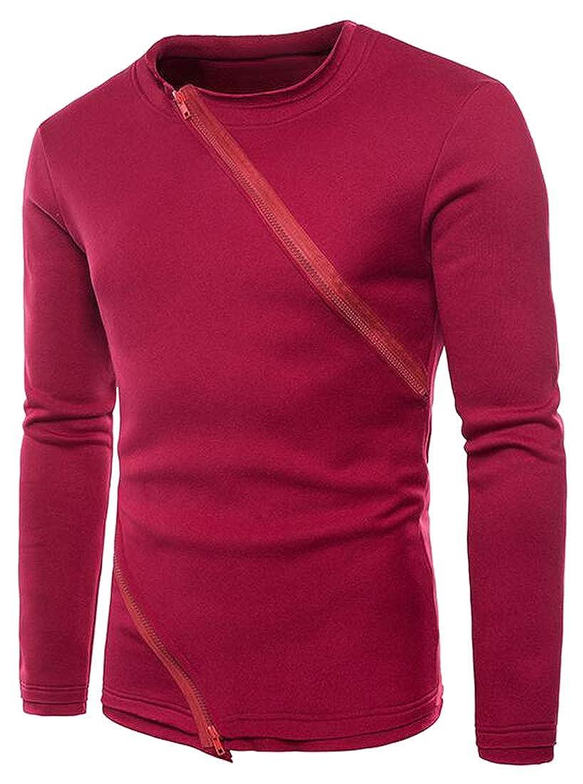 Fubotevic Men Zip Trim Solid Color Slim Casual Long Sleeve Pullover Sweatshirt Top