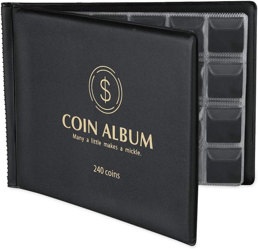 MUDOR Coin Collection Holder Album for Collectors, 240 Pockets Coin Collection Book Supplies (Black): Toys & Games