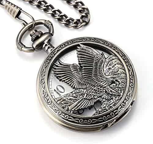 SIBOSUN Eagle Design Pocket Watch Chain Quartz Movement Arabic Numerals Half Hunter for Eagle Scout