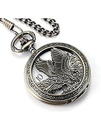 Eagle Design Pocket Watch Chain Quartz Movement Arabic Numerals Half Hunter for Eagle Scout