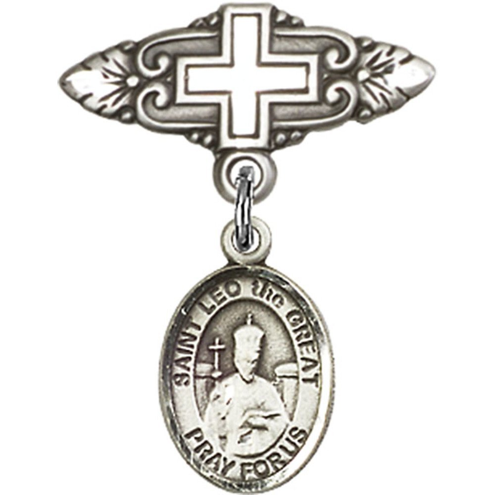 Sterling Silver Baby Badge with St. Leo the Great Charm and Badge Pin with Cross 1 X 3/4 inches