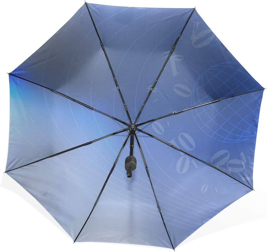 Womens Inverted Umbrella Abstract Business Blue Tech Technology Portable Compact Folding Umbrella Anti Uv Protection Windproof Outdoor Travel Women Umbrella Outside