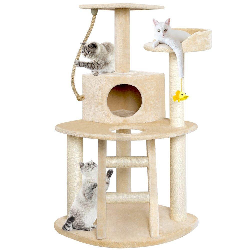 BEAU JARDIN Cat Tree Condo Furniture Scratching Posts 47.5 Inch Cat Activity Tree Heavy Duty Corner Cat Tower Pet House Scratcher Multi-level Kitty Play House Kitten Perch Play Toy Beige
