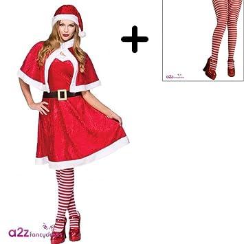 Mrs Santa Claus Tights Ladies Fancy Dress Christmas Xmas Womens