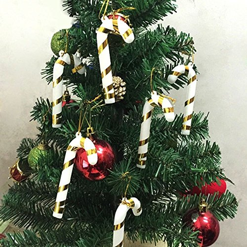 ANGELS--6 Xmas Tree Candy Cane Hanging Ornament Decoration Christmas Home Party Decor (Gold)