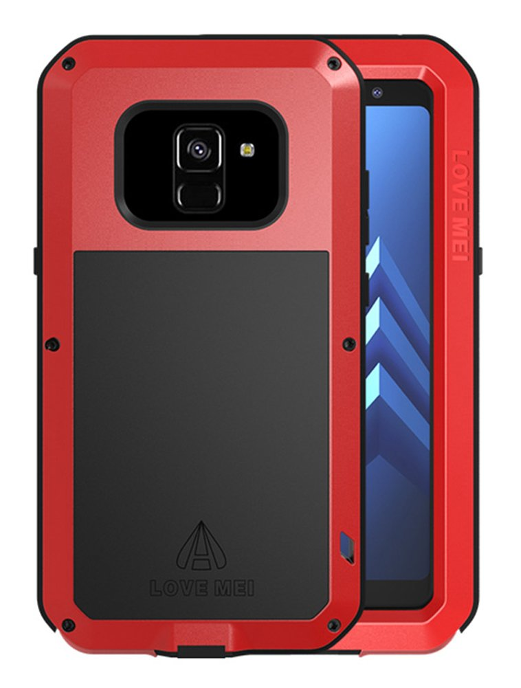 Love MEI Heave-Duty Case Samsung Galaxy A8+ (2018 Version), Waterproof Shockproof Dustproof Aluminum Metal Tempered Glass Cover Silver [Two-Years Warranty]
