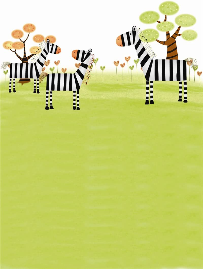 59 IN H Computer Printed Photography Background Backdrop 98.4 IN Zebra Tree for Children 1.52m W