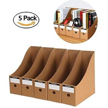 Ankamal - Juego de 5 cajas de almacenamiento plegables de papel para libros, documentos,