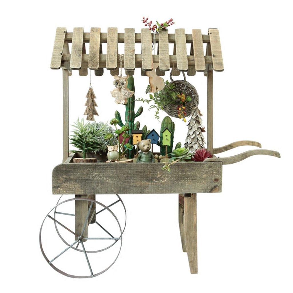 Mmm@ American Country Retro Carrello in Legno Decorazione Telaio Piccolo Fiore Stand Creative Shop Decorazione Puntelli