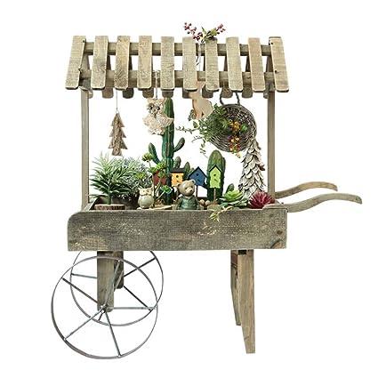 Flower stand- Marco de decoración de Carro Retro de Madera de país Americano pequeño Soporte